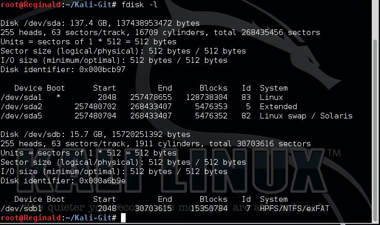 14.1 Kali list disk