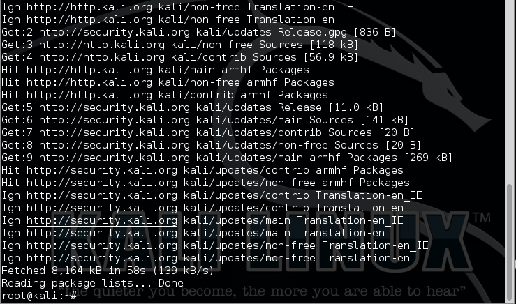 3.1 - kali apt-get update finish