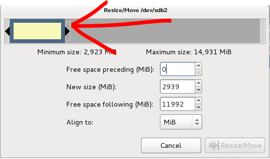 16 - Gparted resize select slider