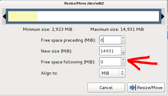 17 - Gparted resize select slider 2