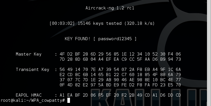 15 - aircrack key found rockyou