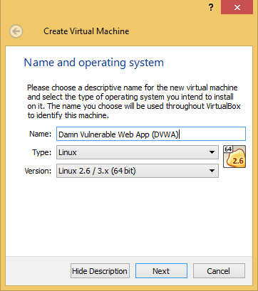 1 - DVWA VirtualBox Name Type Version