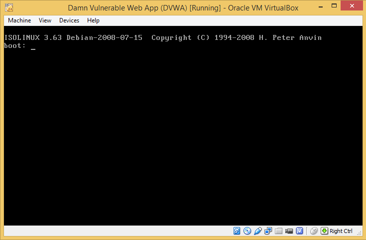 10 - DVWA first boot press Enter