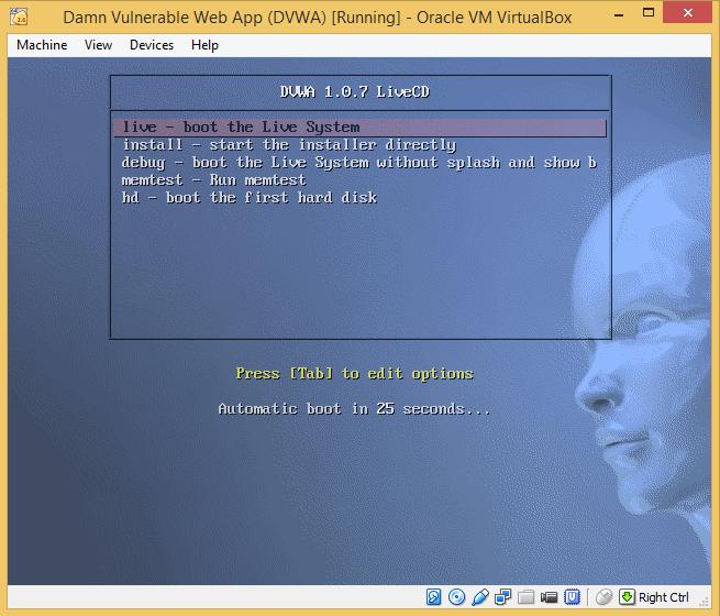 11 - DVWA select live boot
