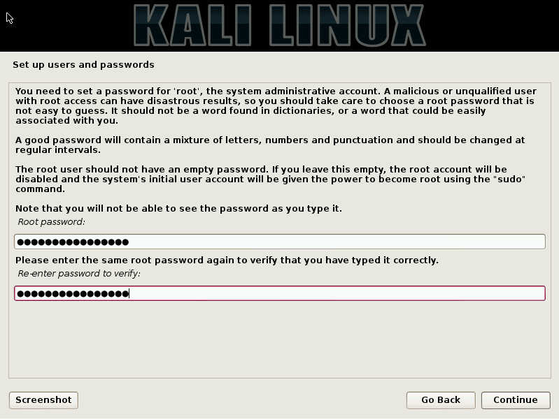 17 - Enter Kali root password