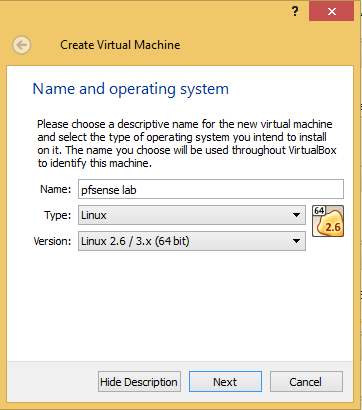 2 - VirtualBox pfsense name type version