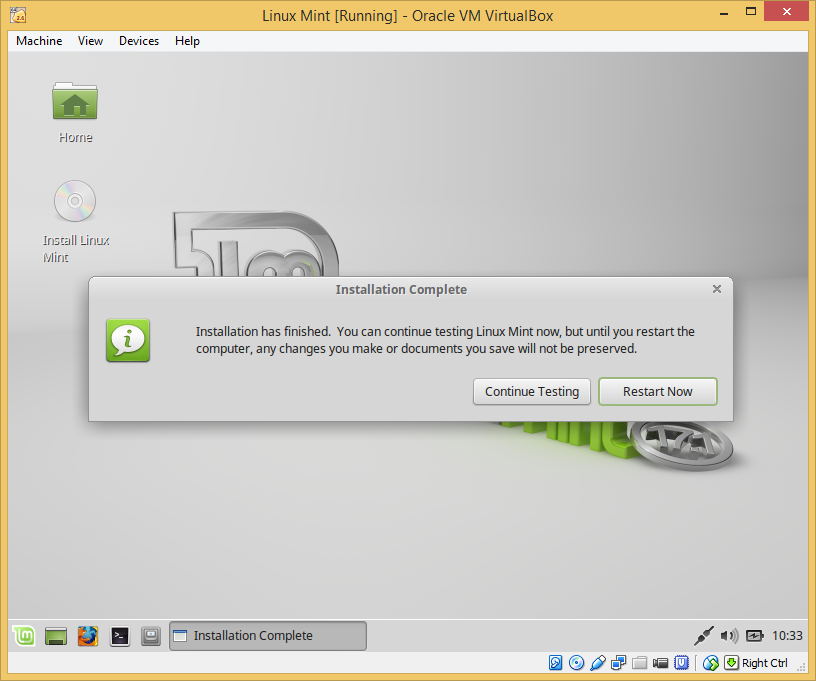 24 - Linux Mint installed - restart