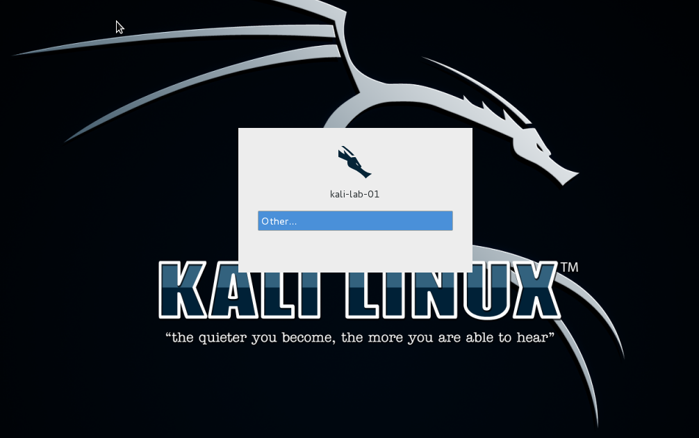 29 - Kali login screen
