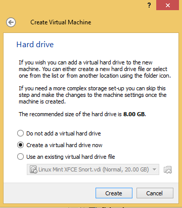 3 - Create a virtual hard drive for Kali