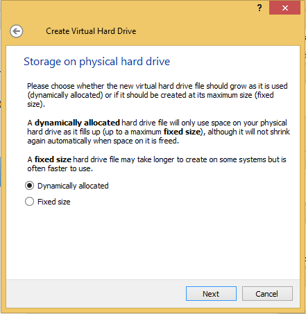 5 - Create a virtual hard drive for Kali select dynamically allocated