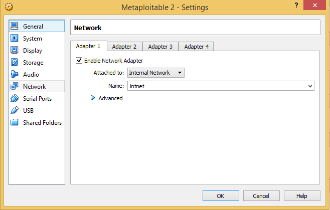6 - Metasploitable network settings