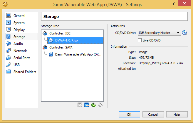 8 - DVWA add ISO to disc drive