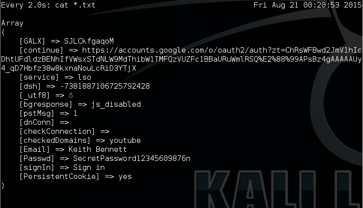 21 - Kali watch listening output