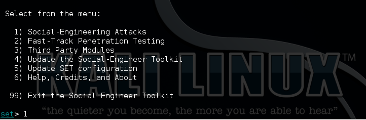 3 - Kali setoolkit option 1