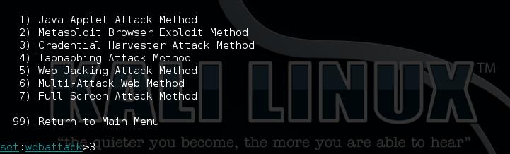 5 - Kali setoolkit option 3