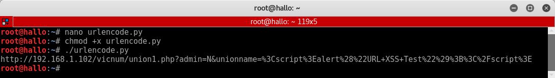 11_Vicnum_Cross_Site_Scripting_python_URL_encoder_chmod_script_execution
