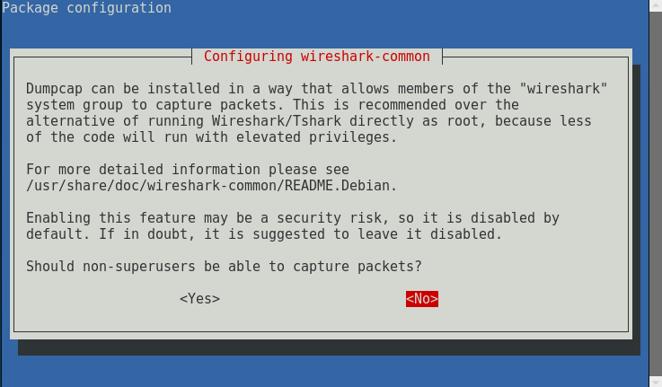 24_Kali_Linux_2.0_VirtualBox_select_no_to_disallow_non_superusers_capture_packets_wireshark